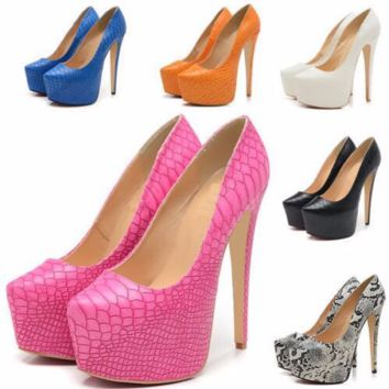 Trendy Snakeskin Pump Stiletto High Heels