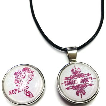 Cancer Sucks Tribal Hope Pink Ribbon Breast Cancer Awareness Support Cure Pendant Necklace  W/2 18MM - 20MM Snap Charms
