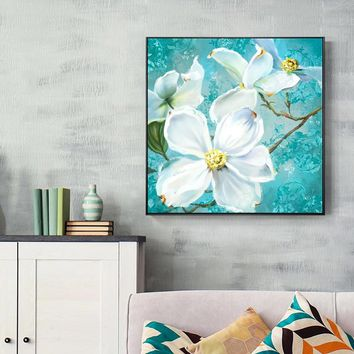 Beautiful  Holy Big White Flowers Canvas Painting Posters And Prints Nordic Wall Art Picture For Living Room Home Decor Abstract