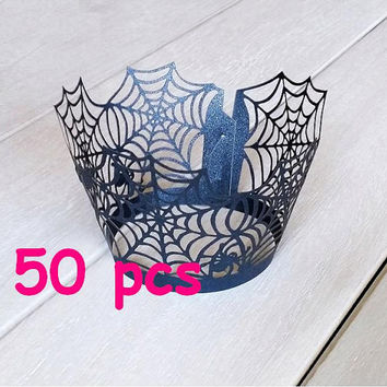 Stencil Spiderweb Cupcake Wrappers spider laser cut wrapper cobweb lace black lace wrapper childen Halloween cake holder black party cake