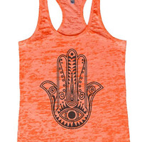 "Womens Tank Top ""Hamsa hand"" 1127 Womens Funny Burnout Style Workout Tank Top, Yoga Tank Top, Funny Hamsa hand Top"