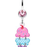 Double Scoop Ice Cream Cone Belly Button Ring
