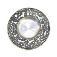 Zodiac Astrology Haugrud Norway Pewter Wall Hanging Plate or Ashtray - Unique Detailed Dish with Star Sign Images - Vintage Home Decor