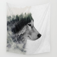 Wolf Stare Wall Tapestry by andreaslie