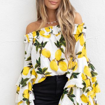 Turn Back White Lemon Print Bell Sleeve Top