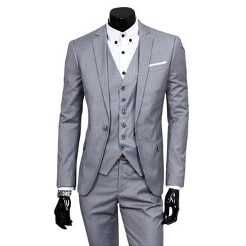 2017 Men New Fashion Plus Size Career Formal Wedding Groom Slim Two-piece Set Business Jacket And Pants Suits Not Include Vest S