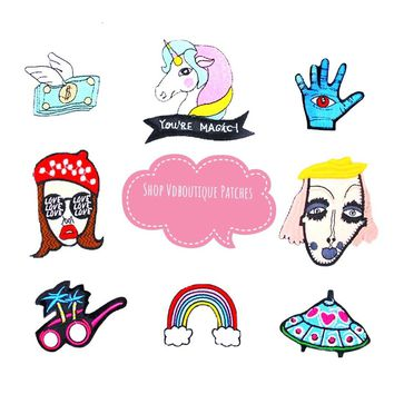 Cute Hipster Punk Rainbow Unicorn UFO Sunglasses Embroidered Iron On Patches 1 Pc