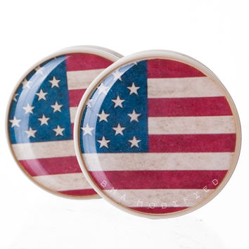 Vintage American Flag U.S.A. BMA Power Plugs (2mm-60mm)