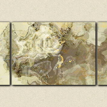 "Sofa size abstract art triptych canvas print, 30x60 to 40x78 gallery wrap giclee in neutral tones, ""Barely There"""