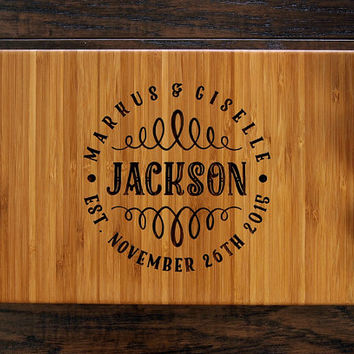 Personalized Engraved Cutting Board, Family Name Monogram, Wedding Gift, Housewarming Gift, Engagement Gift, Bride and Groom, Christmas Gift