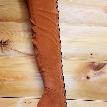 High Strung Control Cognac Brown High Heel Lace up Front Thigh Boot Size 6