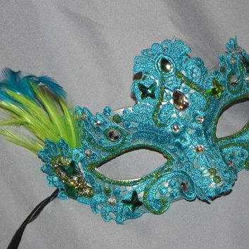 Teal and Lime Green Lace Mask with Butterfly Accents - Butterfly Halloween Mask