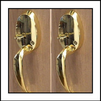 TWO Very Impressive Surface Mount French Door Handles in Polished Brass, Easy to Install on One Side of Two Doors.