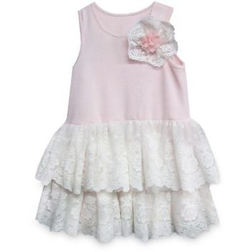 Pippa & Julie™ Lace Tiered Tank Dress in White/Pink