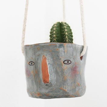 Ceramic Hanging Planter - 'Olivia' Face by Megan Clarke