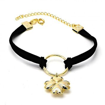 Gold Layered Charm Bracelet, Flower and Heart Design, Gold Tone