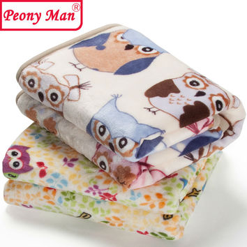 Flannel Baby Blanket Newborn Faux Fur Super Soft Cartoon Blankets 80x100cm
