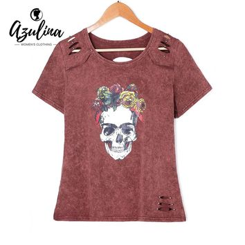 Rivet Rose Skull T-Shirt Women T Shirts Summer Tops Tees Casual Girls T Shirt O Neck Short Sleeves Top Clothing