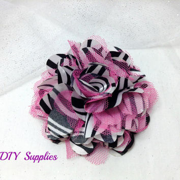 Zebra pink satin tulle flower - fabric flowers - wholesale flowers - hair bow supplies - tulle flower - satin flower