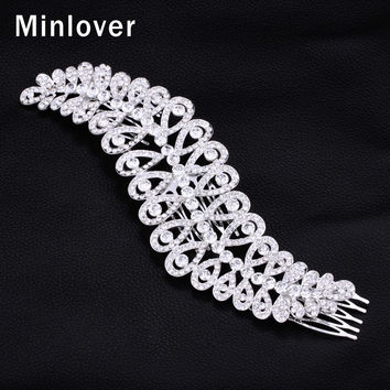 Minlover New 2015 Large Crystal Imitation Gemstone Bridal Hair Combs Hairpin Wedding Hair Accessories Hair Jewelry FS043