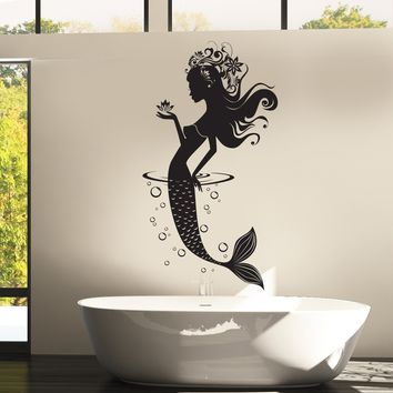 Wall Vinyl Decal Mermaid Ocean Sea Marine Fairy Tale Bathroom Decor Unique Gift z3807