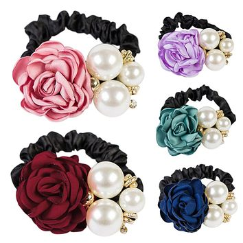 Elastic Hair Bands Women Satin Ribbon Rose Flower Jewelry Hairband Headband Ponytail Holder Hair Band Girls Hair Accessories
