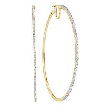 10kt Yellow Gold Women's Diamond Large Hoop Earrings 1-2 Cttw - FREE Shipping (US/CAN)