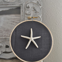 Sand Dollar Decor, Nautical nursery, Beach Decor, embroidery hoop art, Nautical Ornaments, Starfish Ornaments, Beach Christmas,