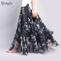 New Fashion Women's BOHO Elegant Florals Print Chiffon Long Skirt Ladies Slim High-Waist Elastic Waist Pleated Skirts SK15