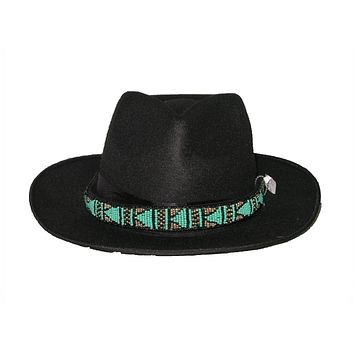 Boho Black Seed Bead Hat Wide Brim Fedora Plus Urban Outfitters Hair Band With Turquoise Black & Gold Beaded Hatband Wear It Two Ways!