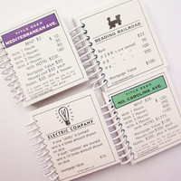mini MONOPOLY CARD set of 4 shopping list memo pad  mini notebook Spiral Bound  Upcycled and Earth Friendly