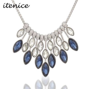 Itenice Classic Statement Necklace & Pendants Crystal Necklace for Women Female Chain Collar Collier Femme 2018 Fashion Jewelry