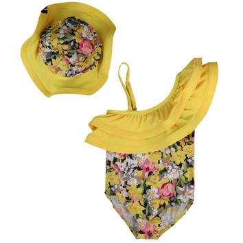 Floral Print One Piece Baby Girl Bathing Suits With Hat