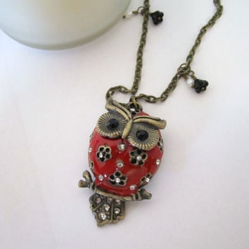 Owl Necklace  Red by 636designs on Etsy