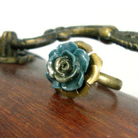 Bronzed Mermaid Teal Flower Ring - Resin Rose Ring - Antiqued Brass Vintage Style Victorian Inspired Jewelry - Neo Victorian Flower Ring