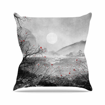 "Viviana Gonzalez ""The Red Sounds And Poems, Chap"" Gray Black Outdoor Throw Pillow"