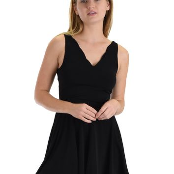 SL4944 Black Sleeveless Romper With Scalloped Neckline And Back Cross Band