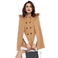 Women Trench Coat Fur Hooded Double Breasted