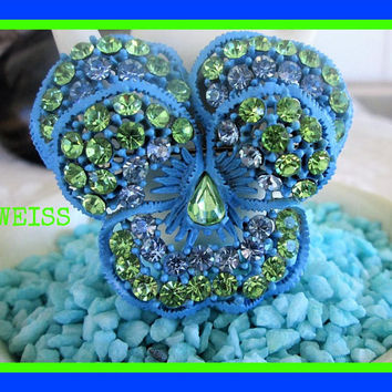 Weiss Blue Green Rhinestone Brooch 1960's Floral Layered Designer Vintage Jewelry Gift