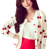Fruit Pattern Button Down Knit Cardigan