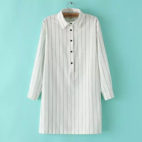 Vertical Stripe Long-Sleeve Button-Up Shirt