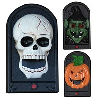 Halloween Party Props Bar Door Decorations Scary Gift Toys Glowing Eyes Devil Pumpkin Skull Doorbell Door Prop Kids Gift Toys