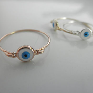 evil eye ring sterling silver gold filled from 19bis on etsy