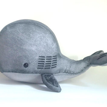 "Industrial Steampunk Stuffed Whale: ""Mechanical"" stuffed animal whale with gears"
