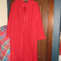 vintage Womens Long red maxi swing coat sz 16   new w tag
