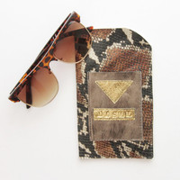 Metallic snanke / Bronze and snake leather glasses wallet -large - Ready to Ship