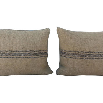 French Grain Sack Pillows, Pair
