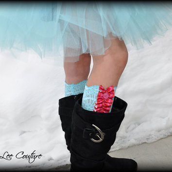 Little Girls Lace Ruffled Boot Cuff  Faux Boot Sock by RLeeCouture