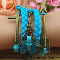 Retro jewelry cross tower hand-made woven bracelet with leather cord velvet rope The Eiffel Tower bracelets