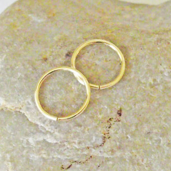 Cartilage Piercing, Mini Hoop Earrings, 14K Gold Filled, Nose Ring, 20 Gauge, Set of 2